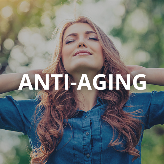 a woman smiling with the word anti-aging overlaid