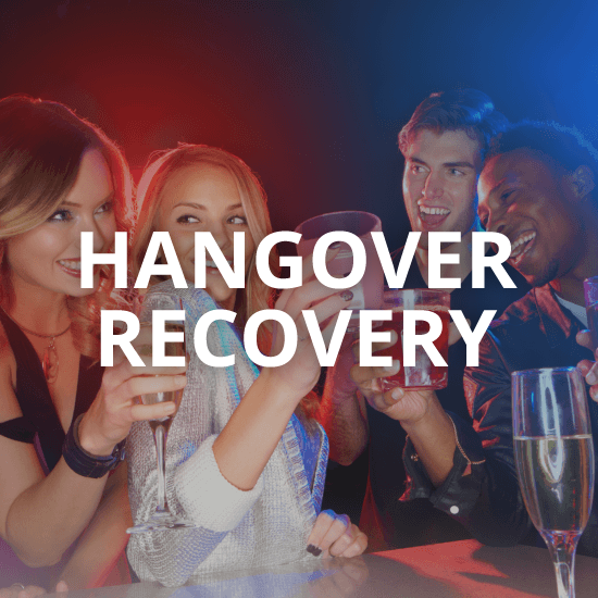 several people drinking in a club with the words hangover recovery overlaid