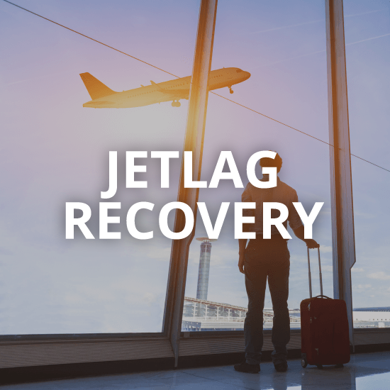 man standing in the airport with the words jetlag recovery overlaid