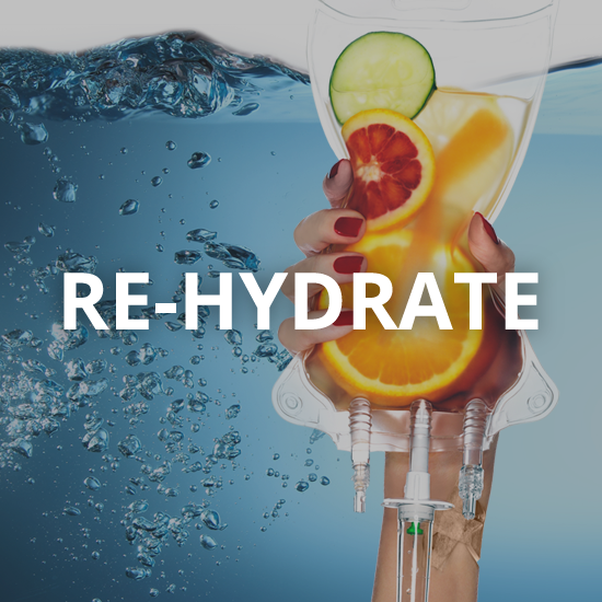 fruit filled iv bag with the word rehydrate overlaid