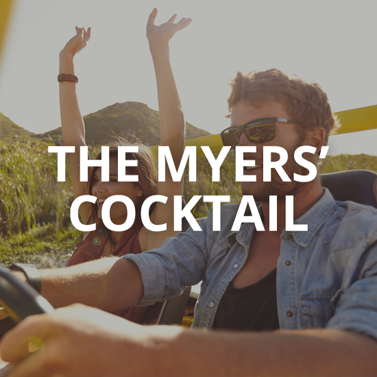 a couple out for a joyride with the words the myers' cocktail overlaid