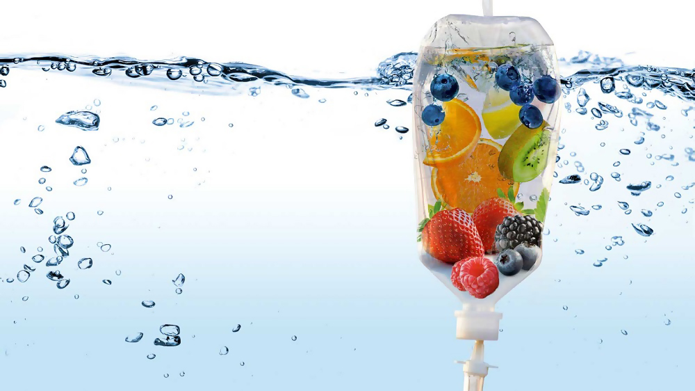 fruit in an iv bag floating in water
